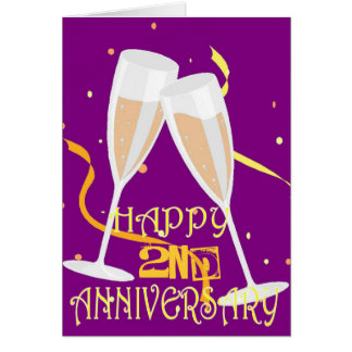 2nd  wedding anniversary champagne celebration card
