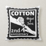 """2nd Wedding anniversary couple holding hands Throw Pillow<br><div class=""""desc"""">This design has a black and white illustration of a man and wife holding hands. Romantic design for your second wedding anniversary. The text reads cotton which is the traditional gift for this anniversary. You can Personalize this with your own names, or delete the names entirely. If you would like...</div>"""