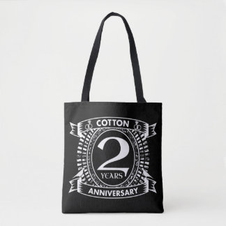 2nd wedding anniversary distressed crest tote bag