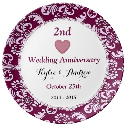 Nd wedding anniversary ruby red floral a plate zazzle