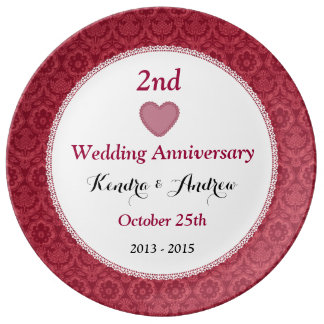 2nd Wedding Anniversary Ruby Red Floral W15A1 Plate