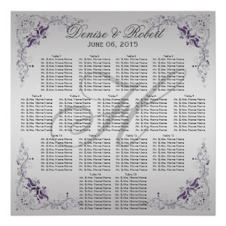 #2Ornate Purple Silver Floral Swirls Seating Chart Poster