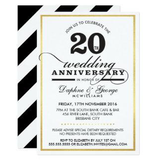 2OTH WEDDING ANNIVERSARY classy stylish gold black Card