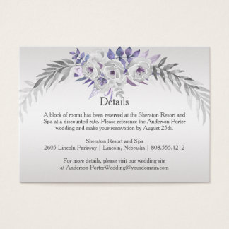 #2Purple Silver Gray Floral Detail Enclosure Cards