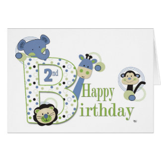 2st Birthday Boy Animal Card with Dots Card