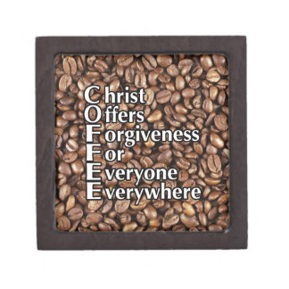 2x2 Keepsake Box COFFEE beans Christ Offers Forgiv