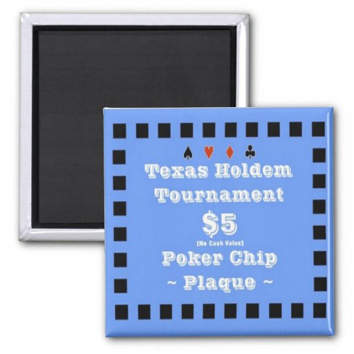 2x2 Texas Holdem Poker Chip Plaque - $5 Refrigerator Magnets