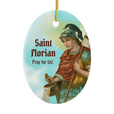 2xSt. Florian with Bucket (Clear Skies; M 019) Ceramic Ornament