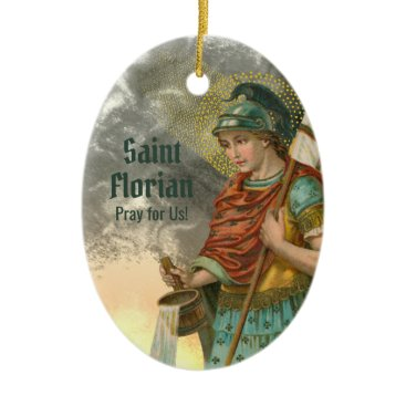 2xSt. Florian with Bucket (Smoke; M 019) Ceramic Ornament