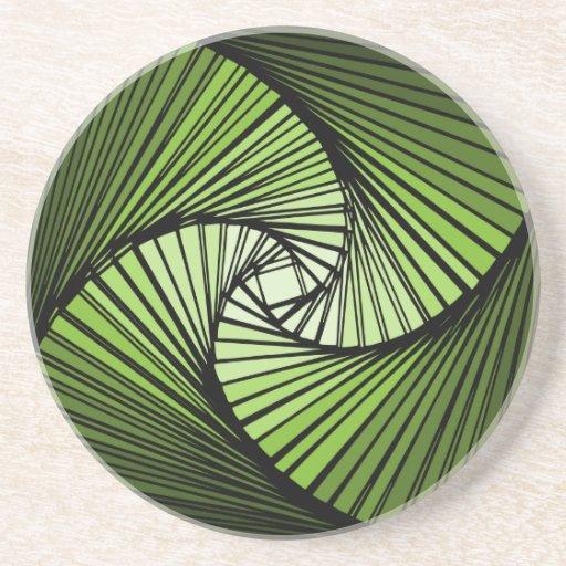 3次元スパイラルグリーン ドリンク用コースター