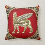 [300] Babylonian Winged Bull Lamassu [3D] Throw Pillows