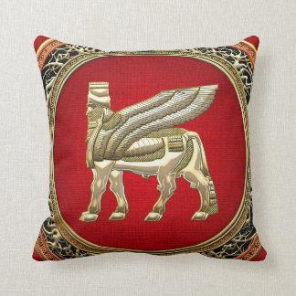 [300] Babylonian Winged Bull Lamassu [3D] Throw Pillow
