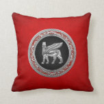 [300] Babylonian Winged Bull [Silver] [3D] Throw Pillows
