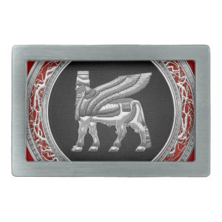 [300] Babylonian Winged Bull [Silver] [3D] Rectangular Belt Buckle