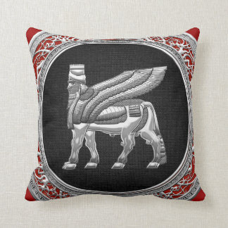 [300] Babylonian Winged Bull [Silver] [3D] Throw Pillow