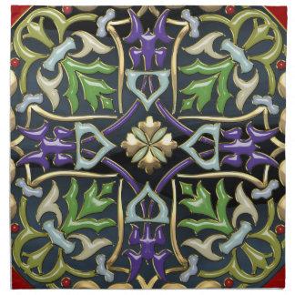 [300] Celtic Cross [Gold with Black Enamel] Cloth Napkin