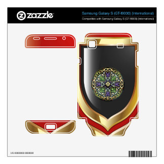 [300] Celtic Cross [Gold with Black Enamel] Samsung Galaxy S Skins