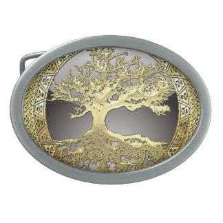 [300] Celtic Tree of Life [Gold] Oval Belt Buckle