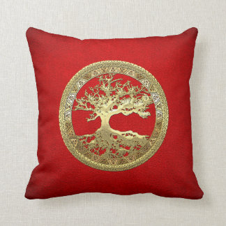 [300] Celtic Tree of Life [Gold] Throw Pillow