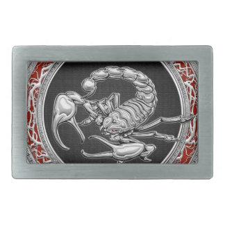 [300] Escorpión de plata sagrado en negro Hebillas Cinturón Rectangulares