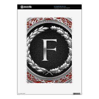 """[300] """"F"""" Silver Vintage Monogram Skins For Kindle DX"""