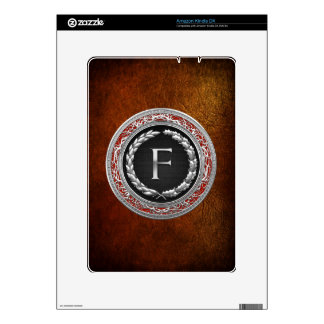"""[300] """"F"""" Silver Vintage Monogram Decals For The Kindle"""