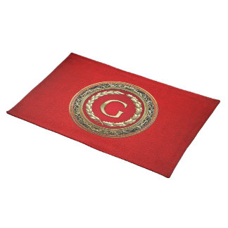"""[300] """"G"""" Gold Vintage Monogram Cloth Placemat"""