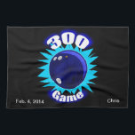 "300 Game Blues Towel<br><div class=""desc"">The perfect game in bowling is desired by all,  but only achieved by few.  Award the accomplishment with a unique and stylish gift to honor the achievement.  Personalize by adding bowler&#39;s name and date bowled.  Type style can be changed as well as the color,  size and location.</div>"