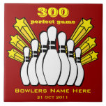 """300 Game Bowling Award Decorative Tile<br><div class=""""desc"""">The Perfect Game! An award tile to commerate this special bowling event. The lower text can be changed to anything you like, the recipient&#39;s name etc. and add the date of the event! The background is transparent so you can choose a color that fits your decor, just click Customize It...</div>"""