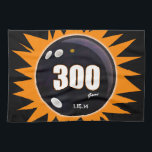 """300 Game Orange &amp; Black Kitchen Towel<br><div class=""""desc"""">The 300 game of bowling in orange and black.  Unique bowling design that is totally customizable.  Change the date bowled,  the font,  color and location.</div>"""