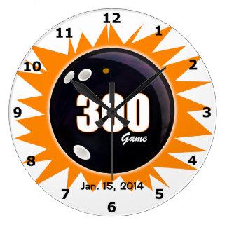 300 Game Orange & Black Large Clock