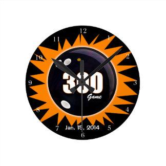 300 Game Orange & Black Round Clock
