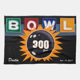 300 Game Orange & Black with Neon BOWL sign Towel