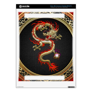 [300] Golden Chinese Dragon Fucanglong Xbox 360 Console Skin