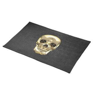 [300] Golden Human Skull Cloth Placemat