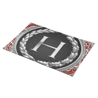 "[300] ""H"" Silver Vintage Monogram Placemat"