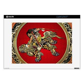 [300] Hokusai - Shoki que montan el león de Shishi Calcomanías Para Portátiles