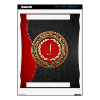 "[300] ""J"" Gold Vintage Monogram Skin For Xbox 360 Console"