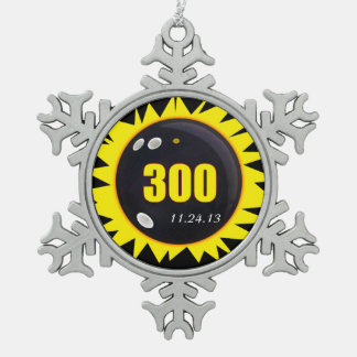 300 Perfect Game Yellow Snowflake Pewter Christmas Ornament