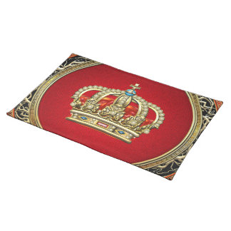 [300] Prince-Princess King-Queen Crown [Belg.Gold] Cloth Placemat