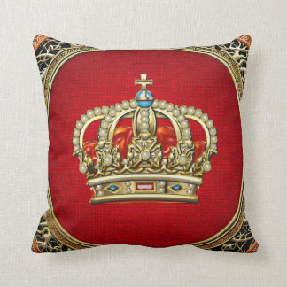 [300] Prince-Princess King-Queen Crown [Belg.Gold] Throw Pillow