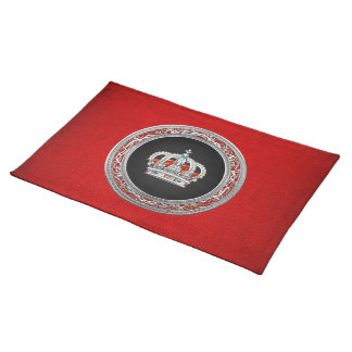 [300] Prince-Princess King-Queen Crown [Silver] Cloth Placemat