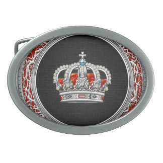 [300] Prince-Princess King-Queen Crown [Silver] Oval Belt Buckle
