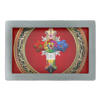 [300] Rosy Cross (Rose Croix) on Red & Gold Rectangular Belt Buckle