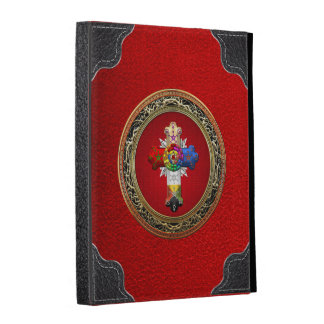 [300] Rosy Cross (Rose Croix) on Red & Gold iPad Folio Covers