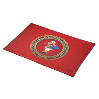 [300] Rosy Cross (Rose Croix) on Red & Gold Placemat