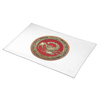 [300] Sacred Golden Scorpion on Red Cloth Placemat