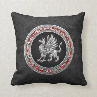 [300] Sacred Silver Griffin Throw Pillow