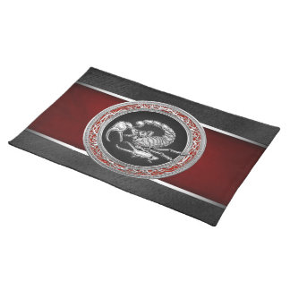 [300] Sacred Silver Scorpion on Black Cloth Placemat
