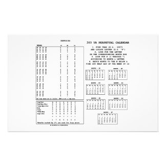 300 Year Perpetual Calendar (Day Of The Week) Stationery